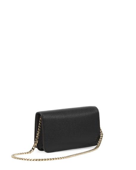 Micro Janis Golden Love Clutch Bag, Black