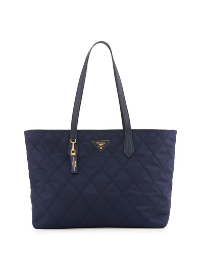 Quilted Tessuto Tote Bag, Baltico