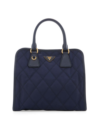 Quilted Tessuto Top-Handle Bag, Baltico