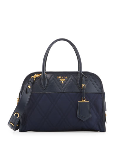 Quilted Tessuto Satchel Bag, Baltico