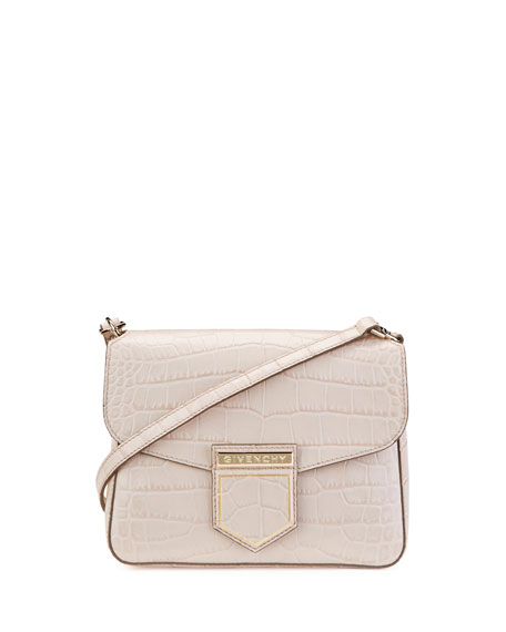 Nobile Small Croc-Embossed Shoulder Bag, Nude