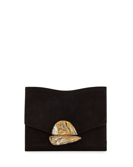 New Small Suede Clutch Bag, Black