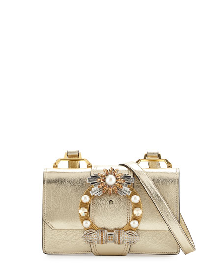 Miu Miu Lady Jeweled Madras Leather Shoulder Bag, Gold