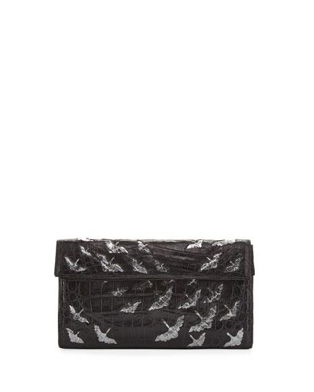 Painted Cranes Crocodile Clutch Bag, Black/Anthracite
