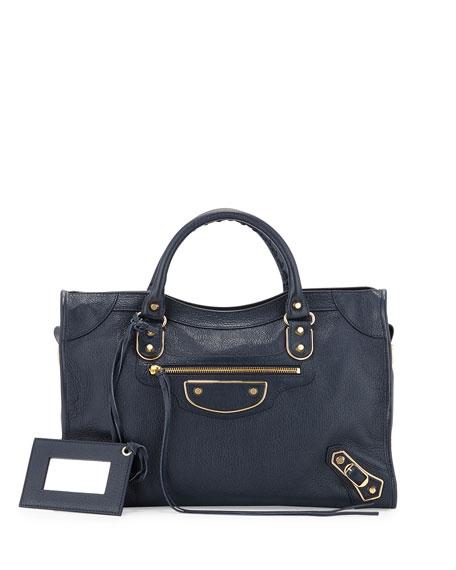 Balenciaga Metallic Edge City Bag, Dark Blue