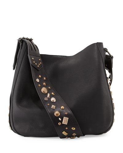 Studded Leather Crossbody Hobo Bag, Black Quick Look. Ralph Lauren