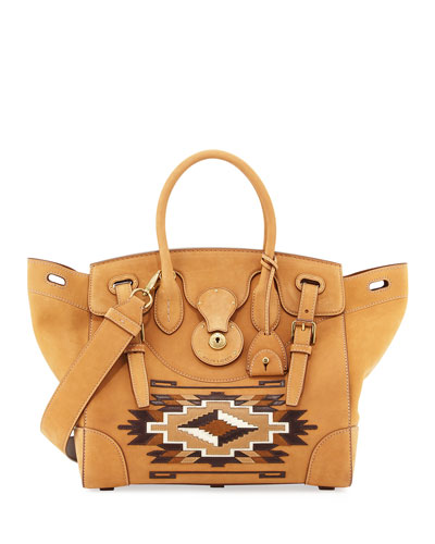 Soft Ricky Suede Southwestern Satchel Bag, Brown Quick Look. Ralph Lauren