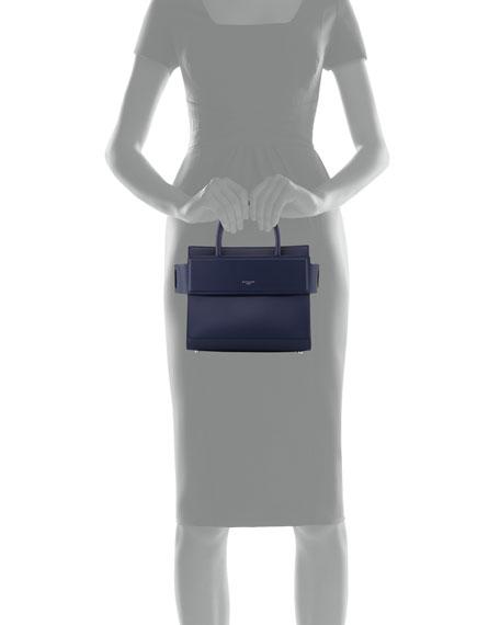 Horizon Mini Leather Satchel Bag, Navy