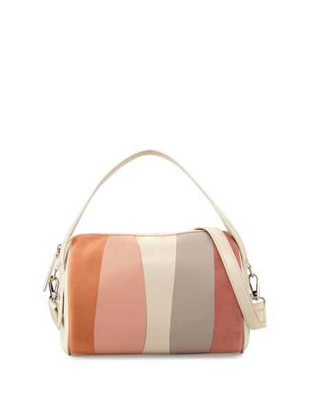 Perry Patchwork Duffel Shoulder Bag, Neutral Pattern