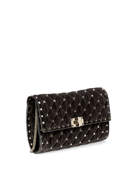 Rockstud Small Quilted Velvet Wallet-on-Chain, Black