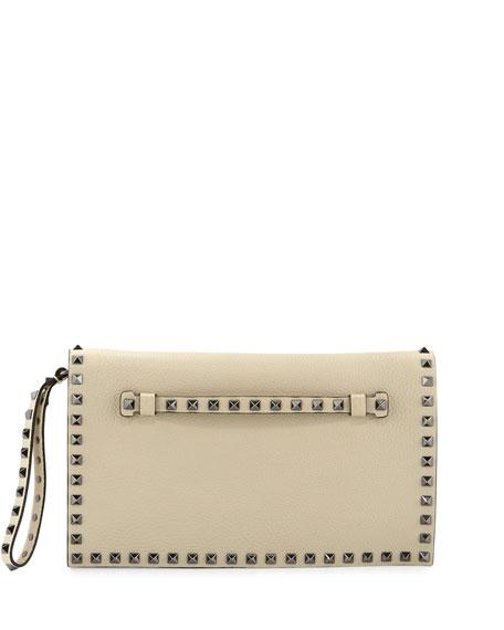 ceb43cd698 Valentino Garavani Rockstud Medium Flap Wristlet Clutch Bag, Ivory