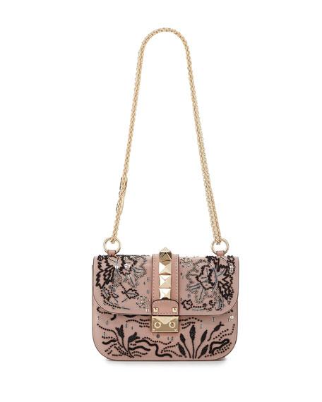 Lock Small Beaded Floral Shoulder Bag, Light Pink