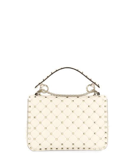 Rockstud Spike Small Quilted Shoulder Bag, Light Ivory