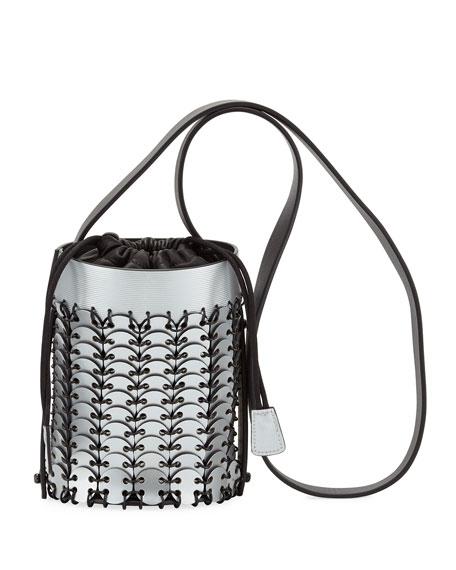 Mini Metallic Leather Bucket Bag, Silver