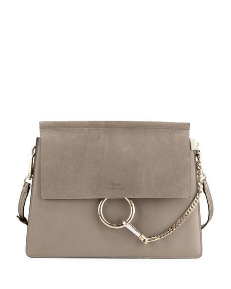 Chloe Faye Medium Flap Shoulder Bag, Motty Gray