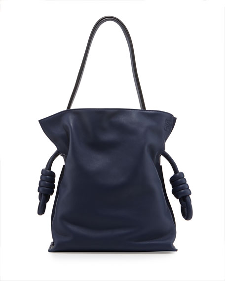 Loewe Flamenco Small Knot Bucket Bag, Navy