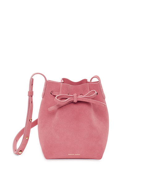 Mini Mini Suede Bucket Bag, Pink
