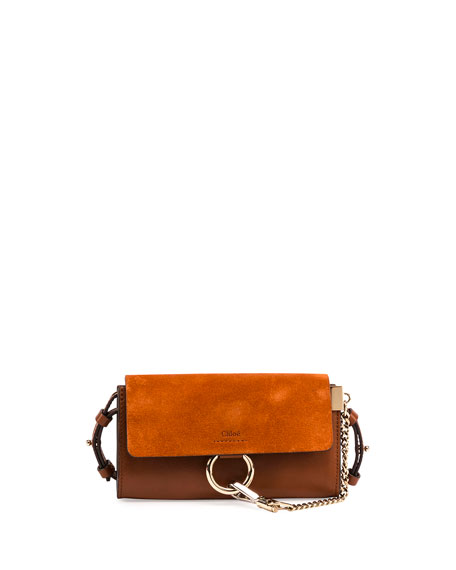 Chloe Faye Suede/Leather Wallet-on-a-Strap, Tan