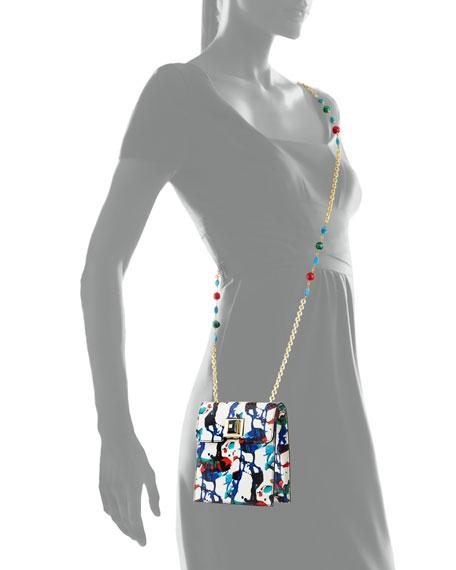 Abstract Splatter-Print Snakeskin Shoulder Bag, White/Multi