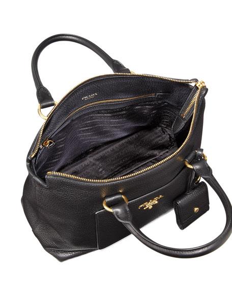 38827ed9572251 Prada Vitello Daino Zip Pebbled Leather Tote Bag