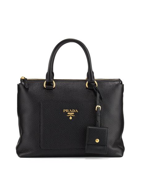 Vitello Daino Zip Pebbled Leather Tote Bag