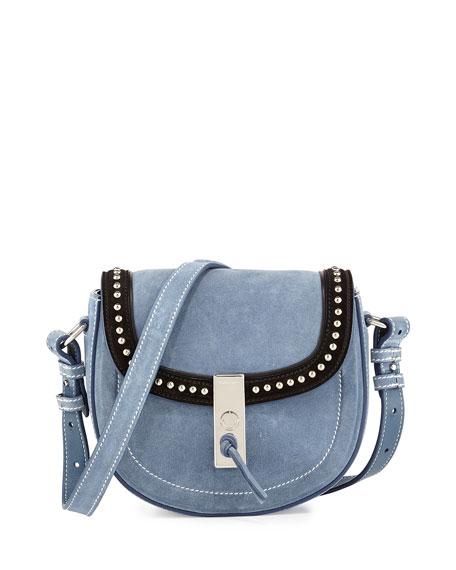 Ghianda Studded Suede Saddle Mini Bag, Denim