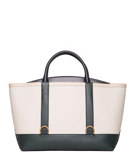 Large Colorblock Flap-Top Tote Bag, Blue