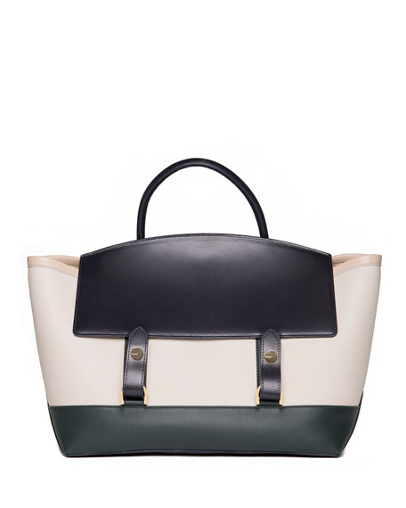 SACAI Large Colorblock Flap-Top Tote Bag, Blue