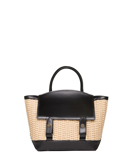 Leather & Raffia Flap-Top Tote Bag, Neutral Pattern