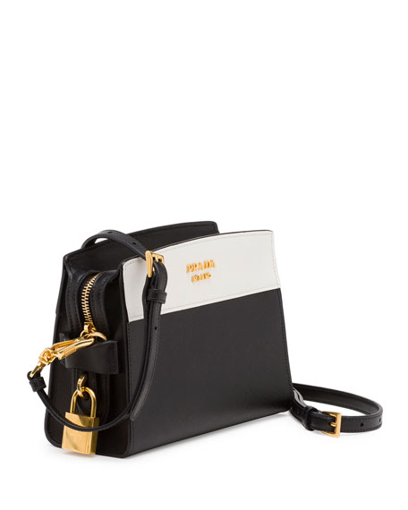 Bicolor Leather Camera Crossbody Bag