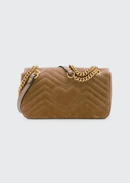 GG Marmont Small Quilted Velvet Crossbody Bag