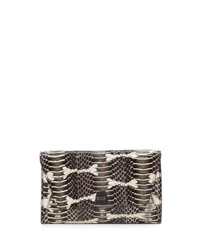 Anouk Mini Watersnake Chain Envelope Clutch Bag  Ivory/Black