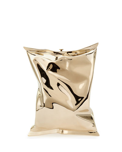 Crisp Packet Metal Clutch Bag  Golden
