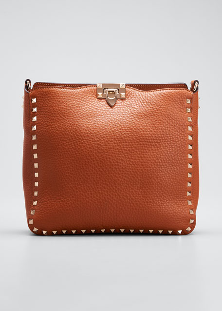 Rockstud Small Flip-Lock Messenger Bag, Light Cuir in Cognac