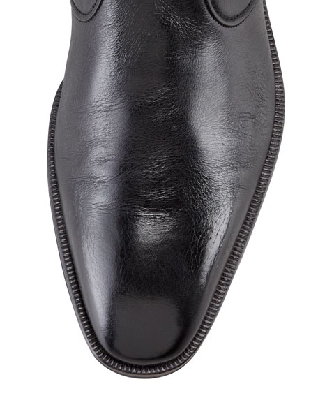 Side Zip Dress Demi Boot, Black