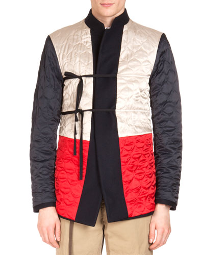 Reversible Stand-Collar Military Jacket