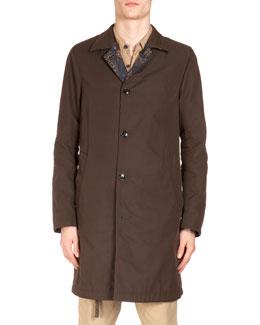 Tech-Fabric Raincoat w/ Paisley-Print Reverse