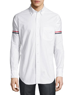Striped Armband Oxford Shirt, White
