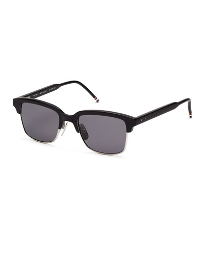 Black Acetate Half-Rim Sunglasses