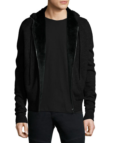 Fur-Lined Wool/Cashmere Zip-Front Knit Hoodie