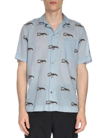 8333168ed8 Dries Van Noten Short-Sleeve Lobster-Print Camp Shirt