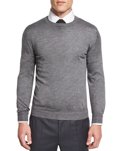 Heathered Wool/Silk Crewneck Sweater, Gray