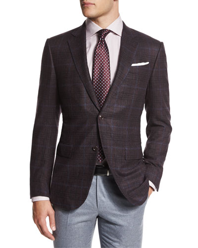 Trofeo Plaid Two-Button Jacket, Burgundy