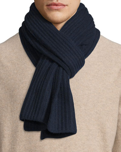 Ribbed Cashmere Scarf  Navy