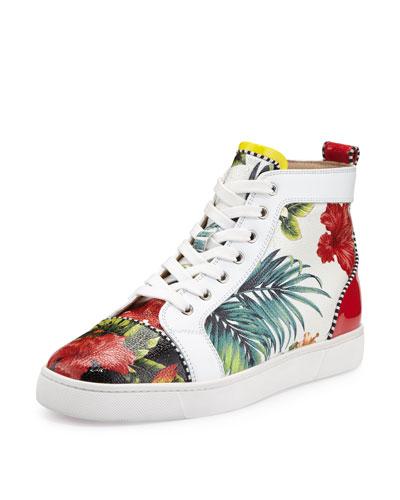 Louis Floral-Print High-Top Sneaker, White