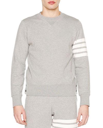 Crewneck Four-Stripe Sweatshirt  Light Gray