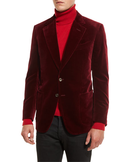 Shelton Base Velvet Sport Jacket, Burgundy