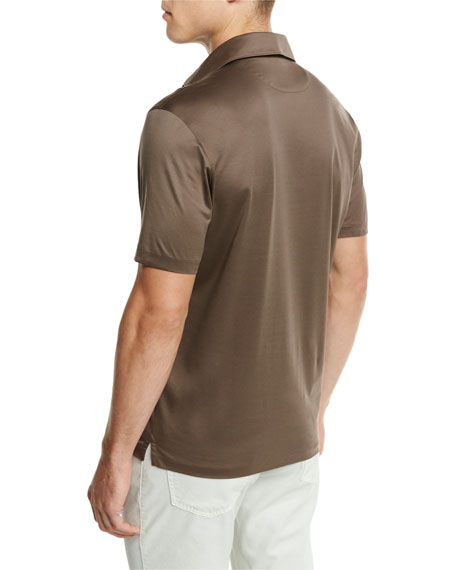 Mercerized Cotton Polo Shirt, Light Brown