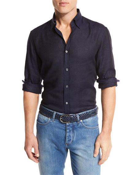 Linen Sport Shirt, Navy