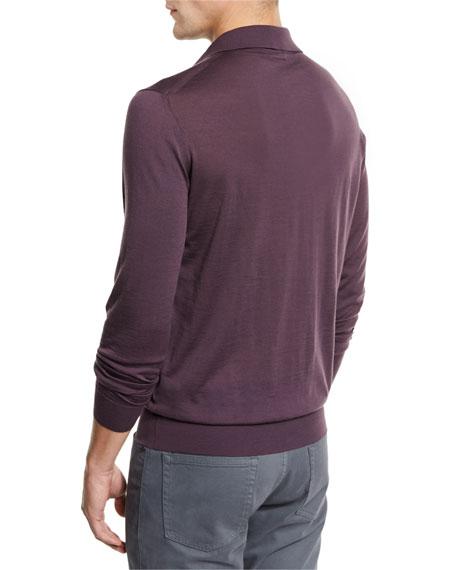 Merino Wool Polo Sweater, Medium Purple